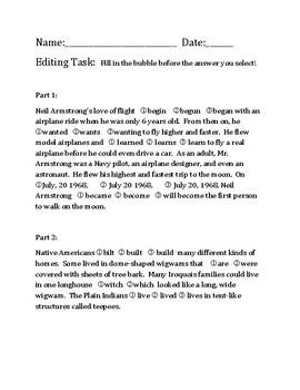 FSA Standardized State Testing Editing Task ELA