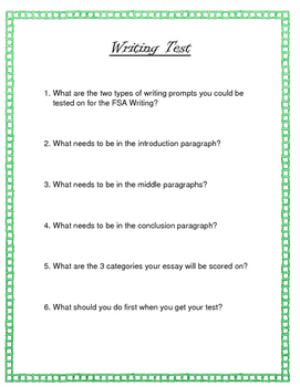 FSA Writing Test