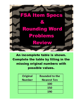 FSA item Specs and Rounding Word Problems