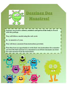 FSL Grade 4 Colours Numbers Body Parts - Dessinez Des Monstres