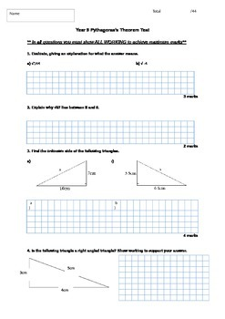 FULL Pythagoras' Theorem Written Test