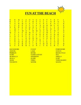 FUN AT THE BEACH WORD SEARCH