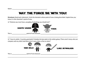 FUN Star Wars Point of View Worksheets & Character Cards ~