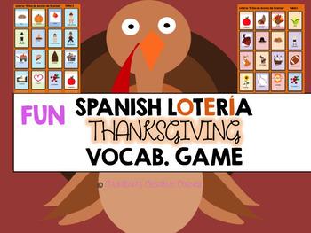 """FUN THANKSGIVING Bingo Game for Spanish Classroom """"Lotería"""""""