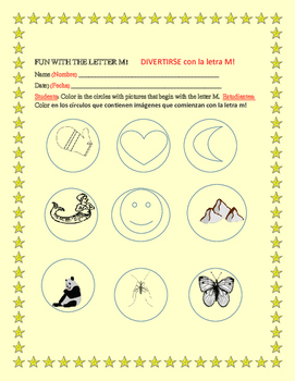 FUN WITH THE LETTER M: A COLORING ACTIVITY: ESL
