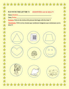 FUN WITH THE LETTER T: A COLORING ACTIVITY:ESL