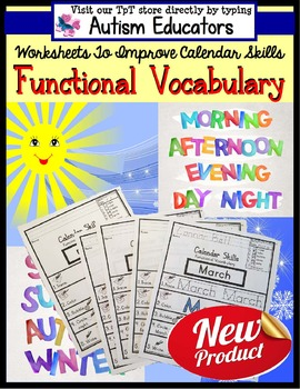 FUNCTIONAL Calendar VOCABULARY Worksheets with DATA for AU