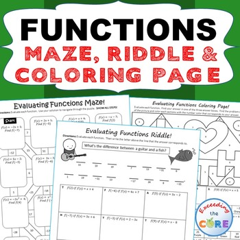 FUNCTIONS Maze, Riddle, & Coloring Page (Fun MATH Activities)