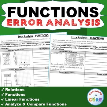 FUNCTIONS Word Problems -  Error Analysis  (Find the Error)