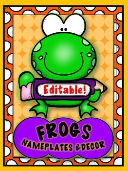 FUNNY FROGS & PENCILS { editable } NAMEPLATES, LOCKER TAGS