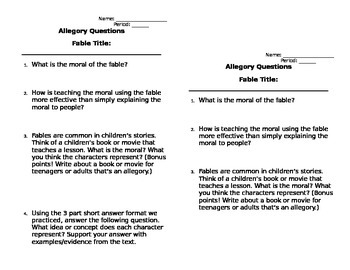 Fable Allegory Questions (any fable)