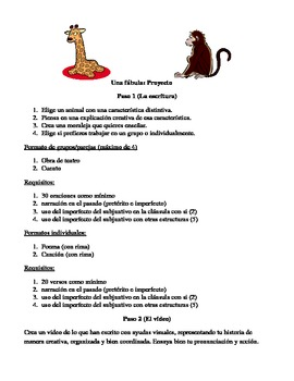 Fable Video and Writing Project for Advanced Spanish classes