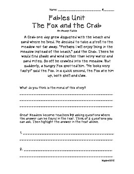 Fables: The Fox & the Crab- An Aseop Fable