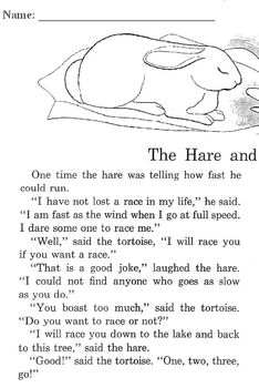 Fables Tortoise and Hare; Milkmaid's Pail Read Comprehensi
