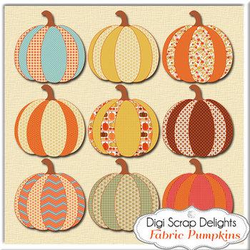 Fabric Pumpkins Clip Art