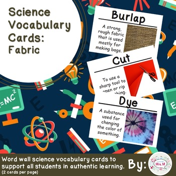 Fabric Science Vocabulary Cards (FOSS Fabric Module) Large