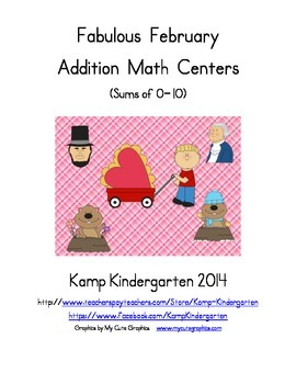 Fabulous February Addition Math Centers (Sums of 0 to 10)