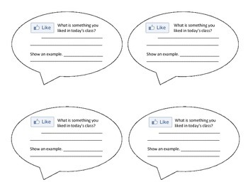 Facebook Exit Tickets - Students Self Assess