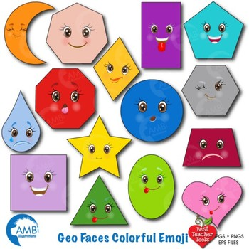Faces Clipart, Emoticons clipart, Shapes clipart, Emoji Cl