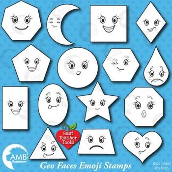 Faces Digital Stamps, Geometric Shapes, Emoticons, Emoji C