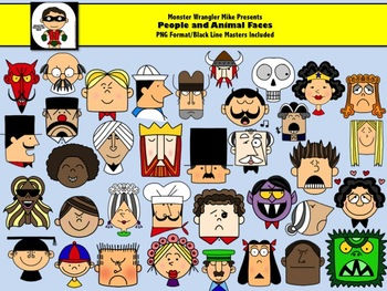 Faces Clip Art Collection in PNG Format