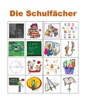 Schulfacher (School subjects in German) Bingo game