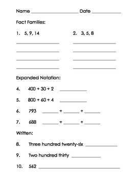 Fact Families - Expanded Notation - Written Form Practice