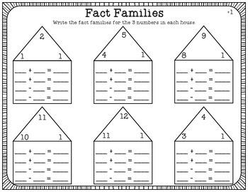 Fact Families Worksheet Pack [FULL SET 1-9 ADDITION]
