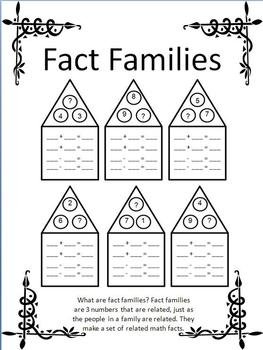 Printables Fact Families Worksheets fact familiesmissing addendopen ended worksheets by educational worksheets
