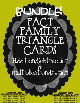 Fact Family BUNDLE Triangle Cards ~ Multi/Div & Add/Sub Co
