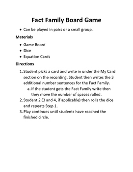 Fact Family Board Game