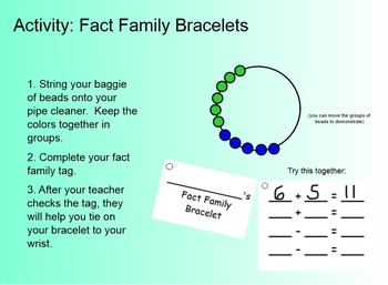 Fact Family Bracelet Activity Tags - addition and subtraction