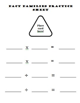 Multiplication and Division Fact Family Cards 0x-10x