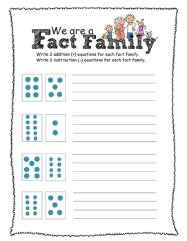 Fact Family Dot Cards Assessment -Grade 1 (plus and minus