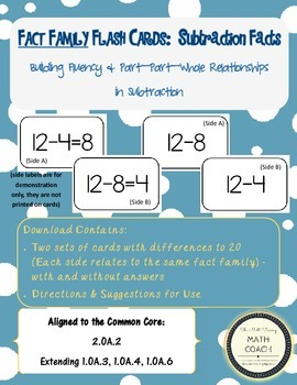 Fact Family Flash Cards:  Subtraction Facts