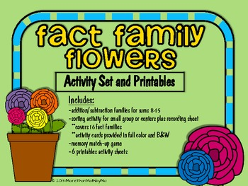 Fact Family Flowers Activity Set and Printables (B&W Activ