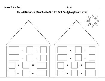Fact Family House: Addition and Subtraction Worksheet