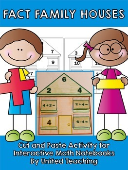 Fact Family Houses: Cut & Paste Worksheets for Interactive