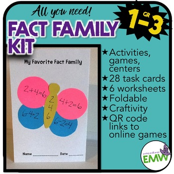 Fact Family Lessons - Activities, worksheets, task cards,