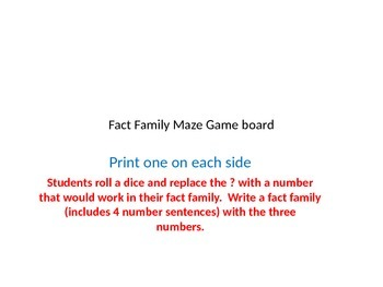 Fact Family Maze Game board