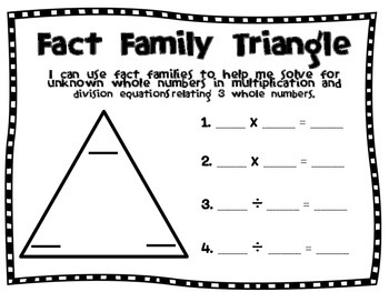 Fact Family Triangle Work Mat & Ready-to-Print Center