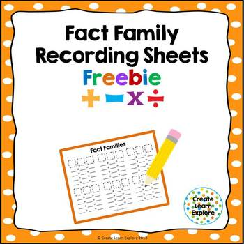 Fact Family and Number Family Recording Sheets