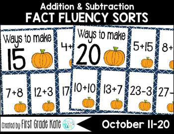 Math Fact Fluency for October (11 to 20)