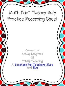 Fact Fluency Practice Recording Sheet