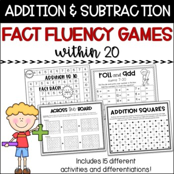 Addition and Subtraction to 20 - Fact Fluency Math Games a