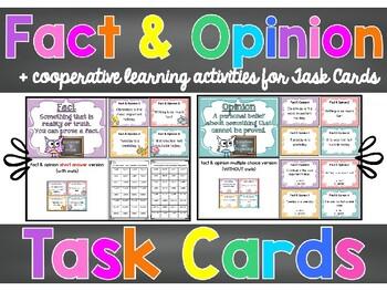Editable Fact & Opinion Task Cards PLUS Print&Go Cooperati