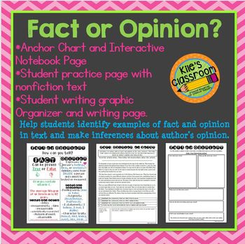 Fact and Opinion Interactive Notebook Page and Student Activities
