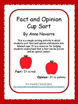 Fact and Opinion Cup Sort