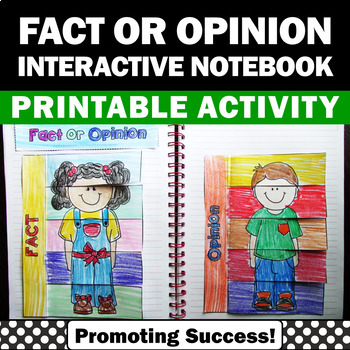 Fact and Opinion Interactive Notebook Activities Literacy Centers