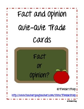 Fact and Opinion Quiz-Quiz-Trade Cards